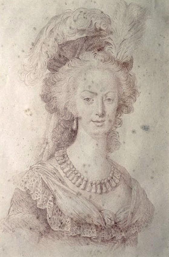 Marie-Antoinette en robe rouge sans ses enfants Zmarie12