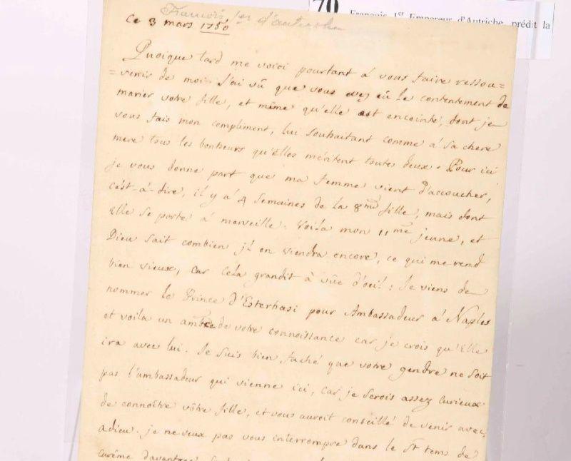 Lettre de François I, père de Marie Antoinette Zzzzz10