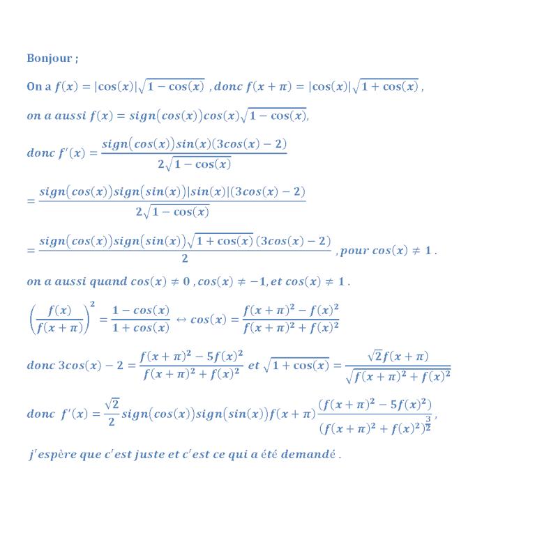 calcul f'(x) en fonction de f(x) Dyrivy11