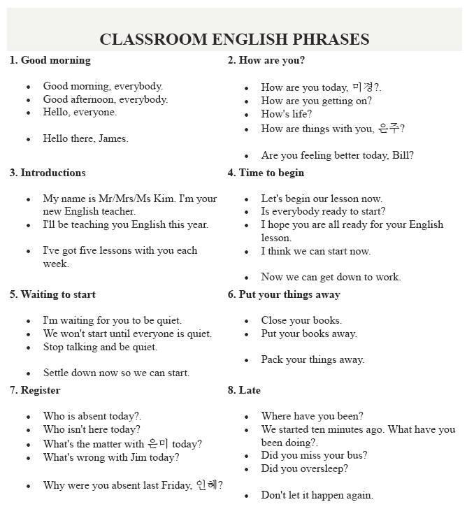 classroom english phrases Englis10