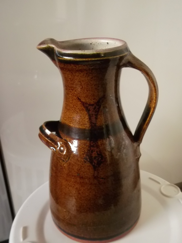 "11"" jug with S mark - Probably Michael Skipwith, Lotus Pottery   2012-042"