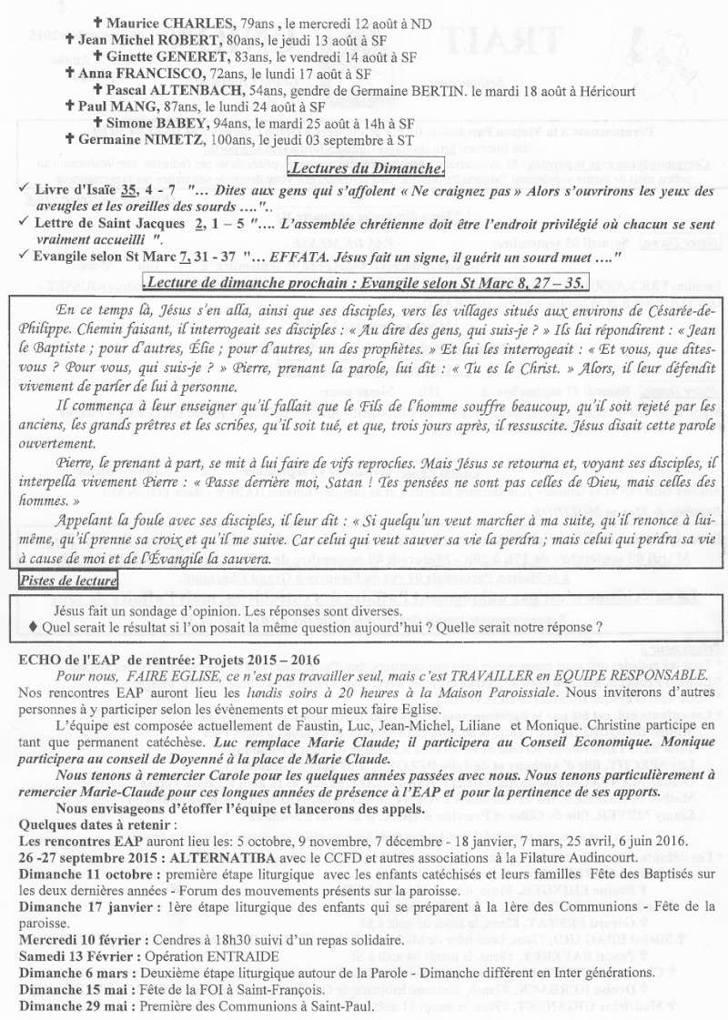 Trait d'Union du 6 septembre 2015 Tu150911