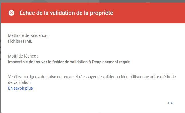Propriété non validé search console Sans_t15