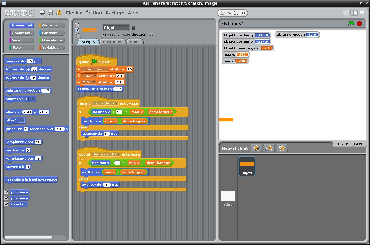 Informatique en cycle 3/4: découvrons Scratch (récapitulatif tenu à jour de mes essais page 8) Scratc10