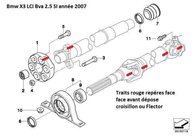 [ Bmw E83 X3 LCI Bva 2.5 SI an 2010 ] Problème croisillon arbre de transmission 26_arb12