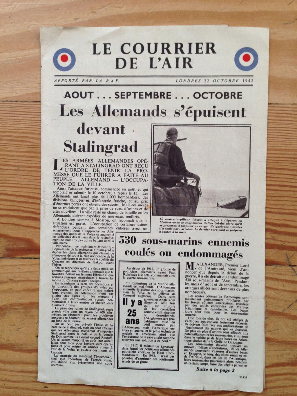 Lot de tracts d'information britanniques distribués par la RAF 1942_estimation  114