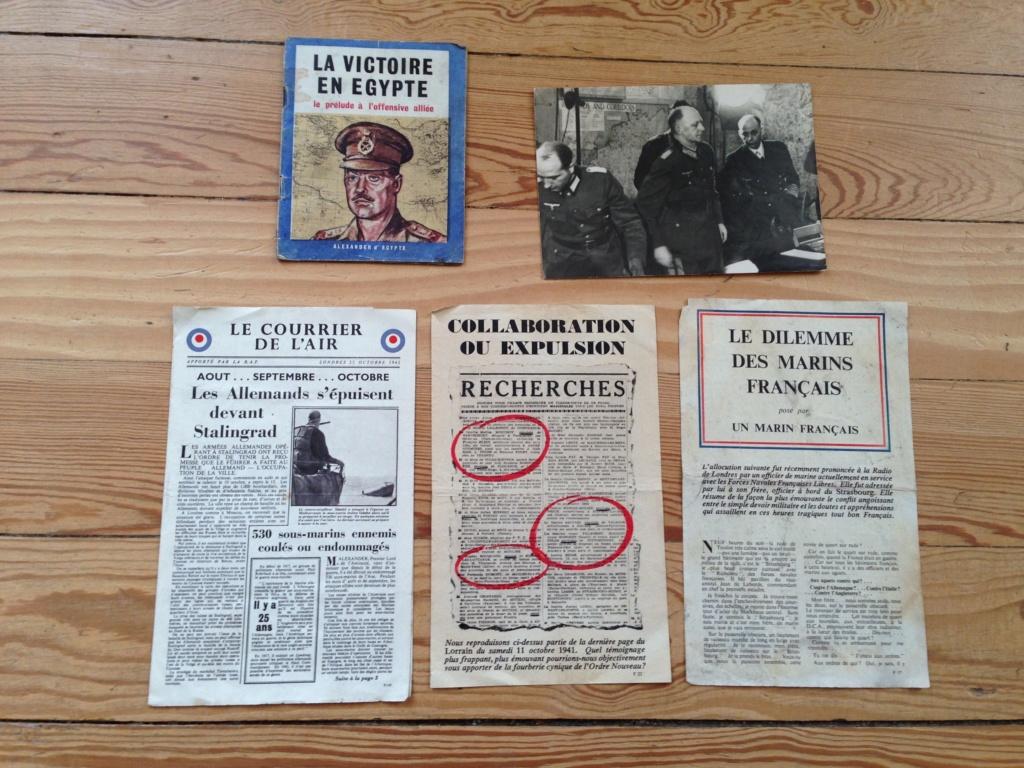 Lot de tracts d'information britanniques distribués par la RAF 1942_estimation  Img_3119