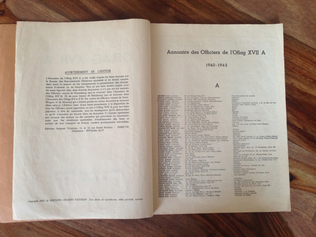 annuaire 1940-1945 OFLAG XVII A (complet, pour estimation) Img_7117