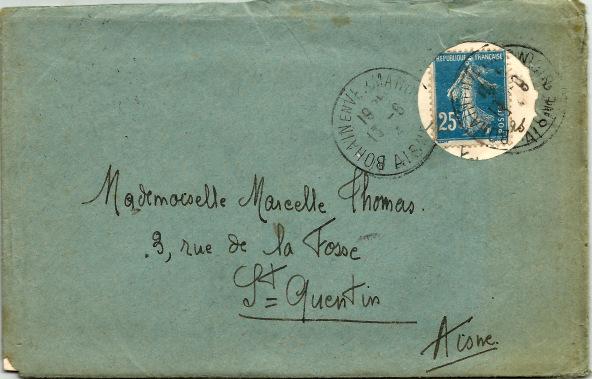 carte postale ayant voyagée sans adresse Bohain10
