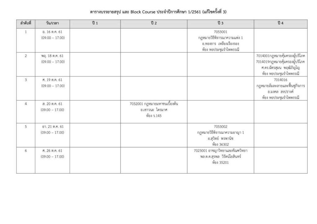 ตารางบรรยายสรุป และ Block Course ประจำปีการศึกษา 1/2561 (แก้ไขครั้งที่ 3) Zeeeee10