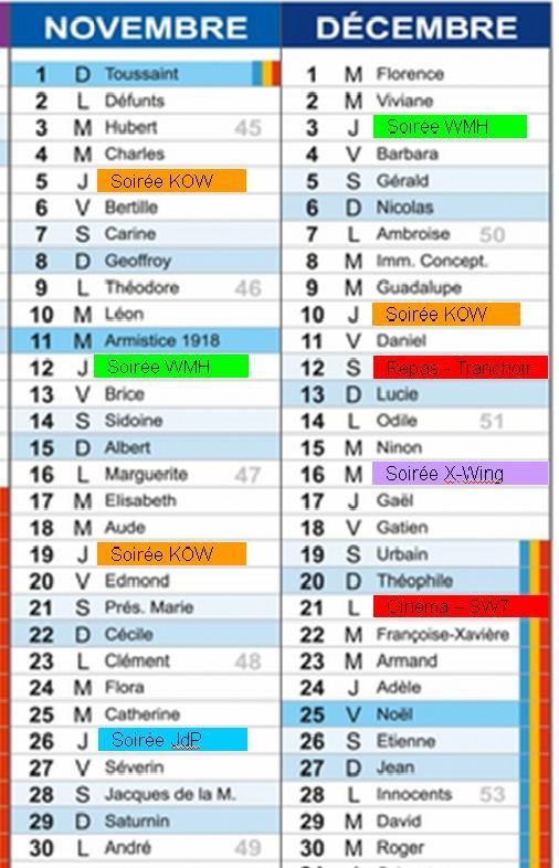 Planning des soirées jusqu'à la fin de 2015 Planni10