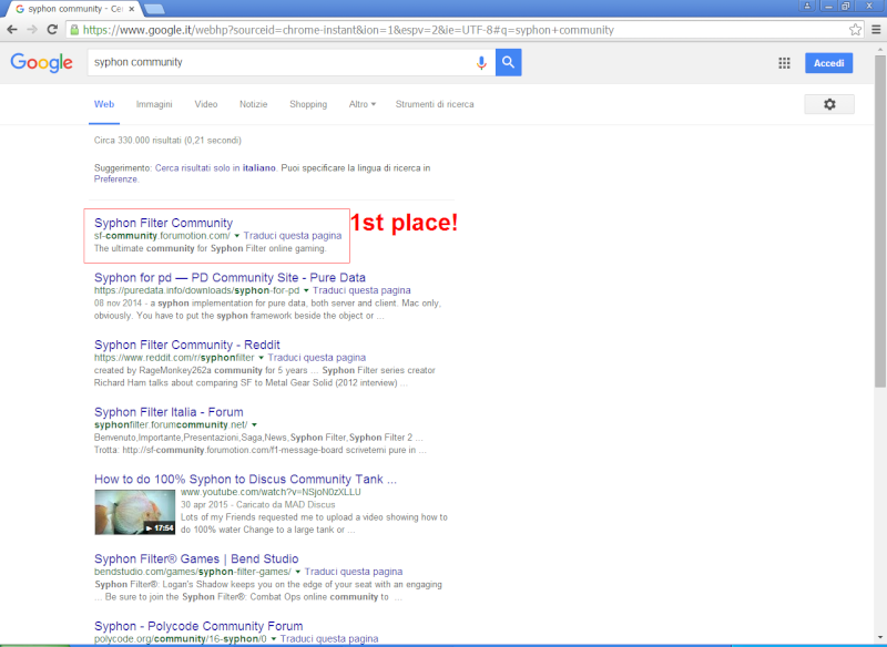 1st place in Google! Syphon13