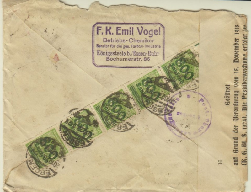 Devisenkontrolle im Deutschen Reich nach Ende des 1. Weltkrieges Essen111