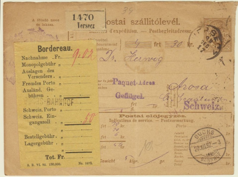Postbegleitadressen mit fiskalischem Werteindruck Paketk10
