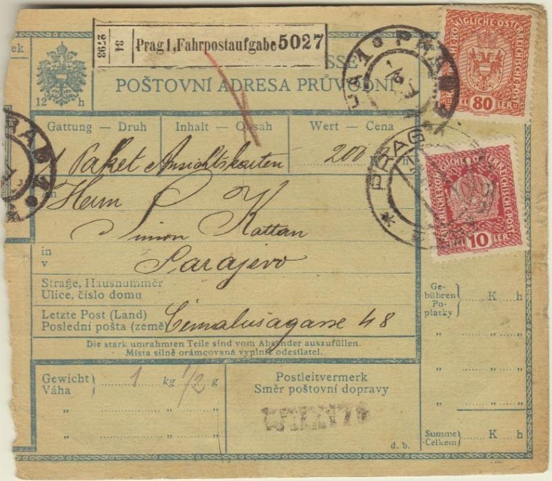 Postbegleitadressen mit fiskalischem Werteindruck Prag110