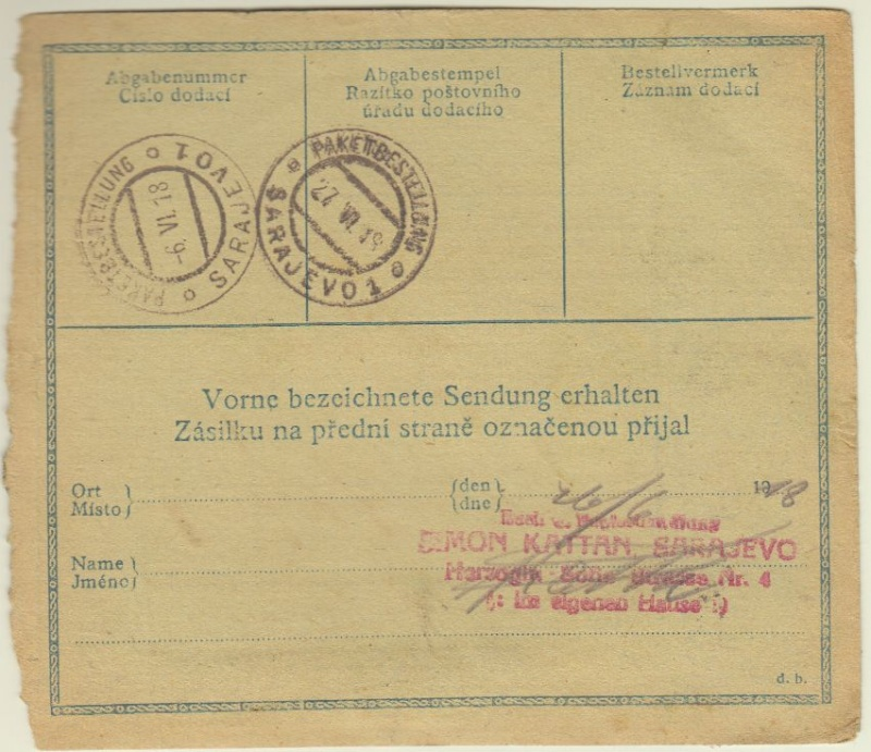 Postbegleitadressen mit fiskalischem Werteindruck Prag210