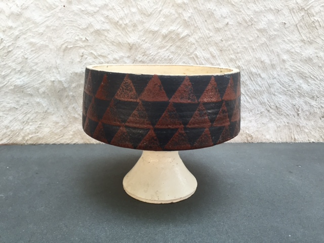 Clay Pedestal Bowl with Geometric Design Img_2416