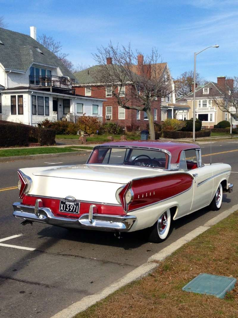 1957 Ford Fairlane Skyliner with Edsel Pacer 1958 front 327