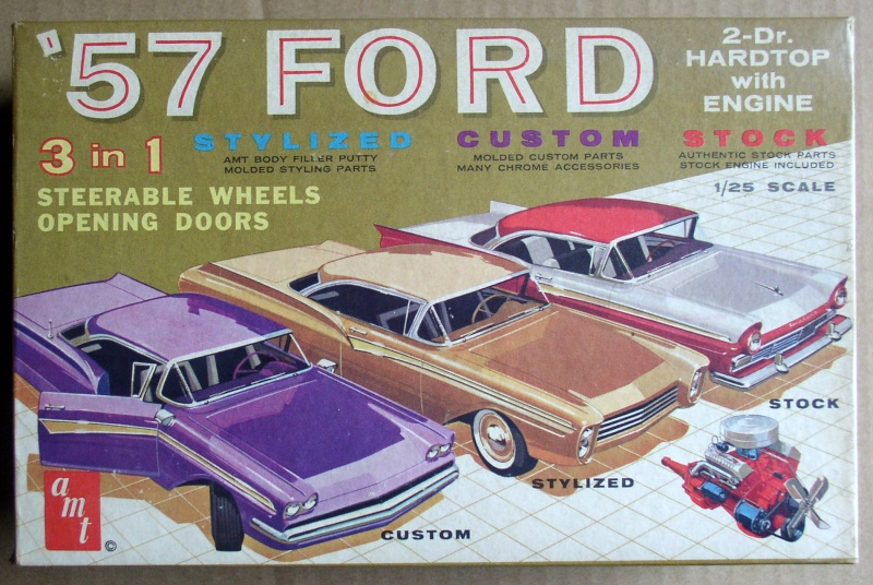 1957 Ford - Trophy series - 3 in 1 - 1/25 scale - Amt -  Amt57f10