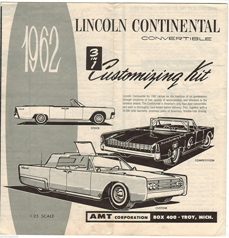 1962  Lincoln Convertible - 3 in 1 Customizing kit - 1/25 scale - Amt - S-l16011