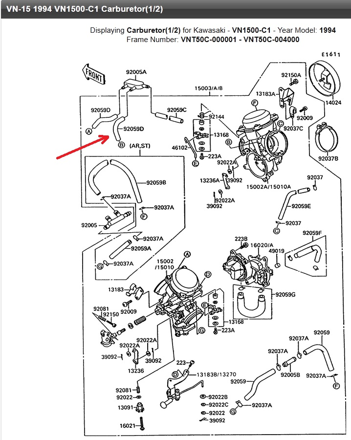 SUMO - Renifleur reservoir et durite boite à Air 1500vn12