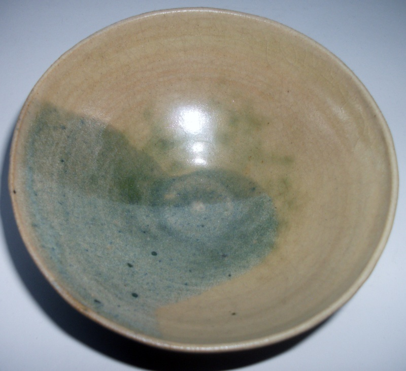 Small green glazed conical bowl Unknown maker Dscf4611