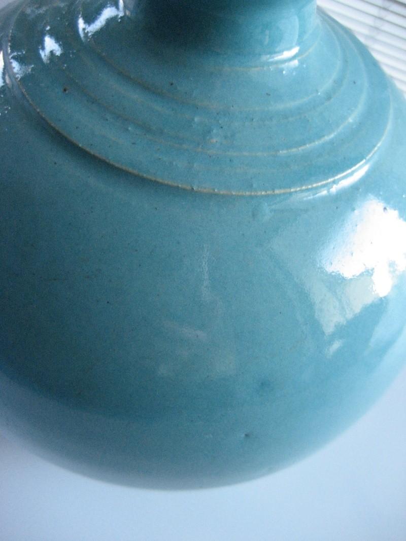 Turquoise glaze fluted ribbed neck vase. No mark. Japanese? Img_1026