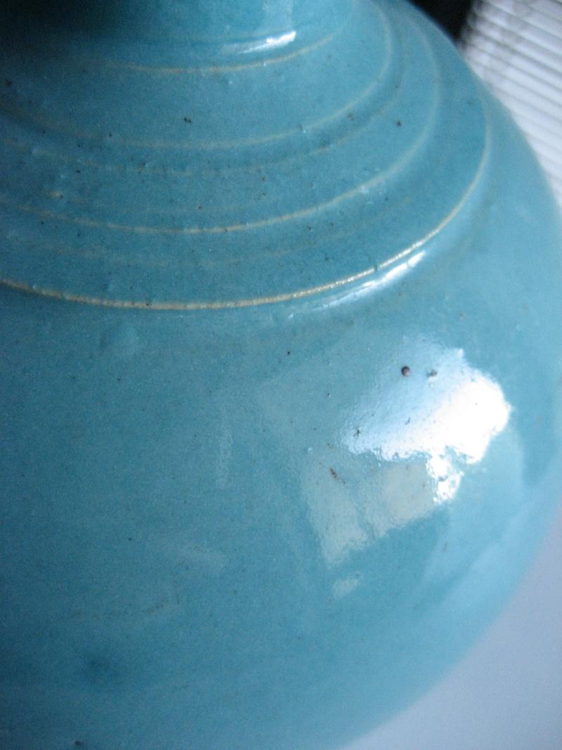 Turquoise glaze fluted ribbed neck vase. No mark. Japanese? Img_1027