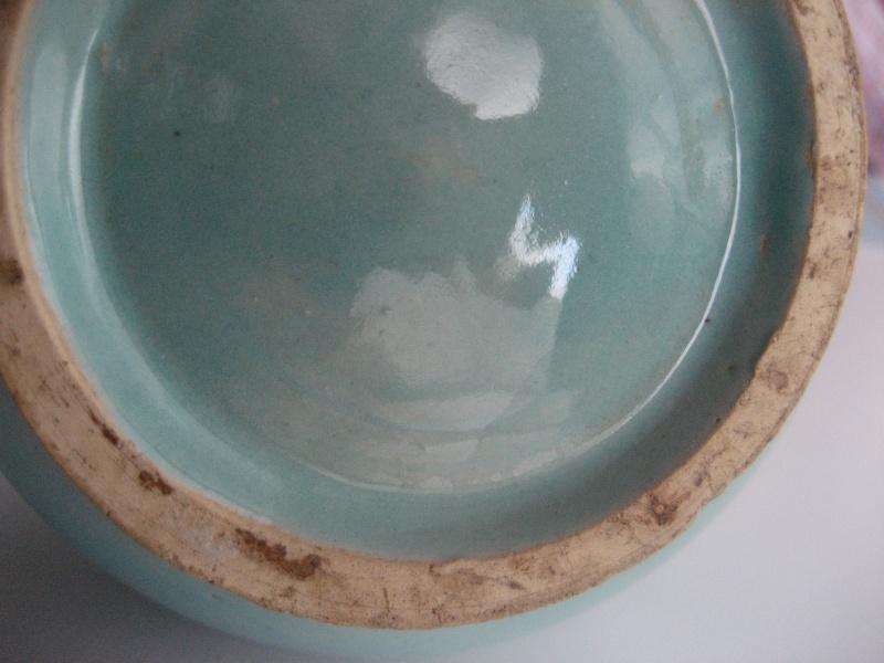 Turquoise glaze fluted ribbed neck vase. No mark. Japanese? Img_1031
