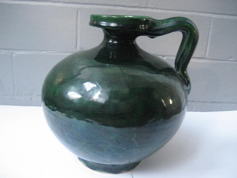 Bulbous Single Handle Dark Green Glaze Grecian Looking Vase. No Mark Img_1111