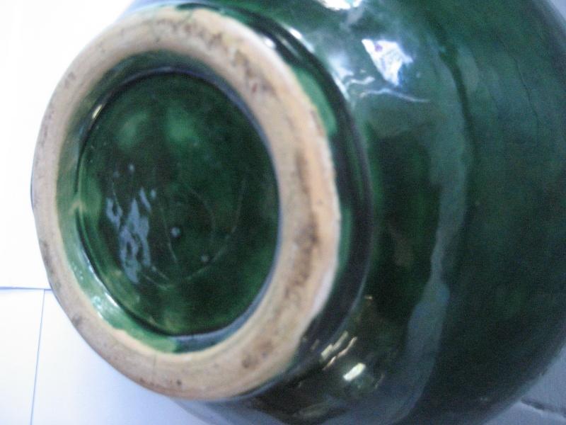 Bulbous Single Handle Dark Green Glaze Grecian Looking Vase. No Mark Img_1112