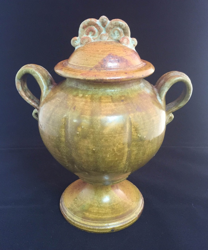 Handled, Footed Art Pottery with Lid, Incised TM, I think?  Please Help! Null10