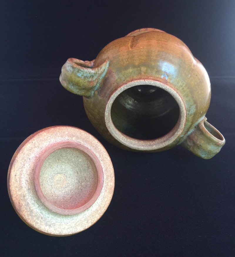 Handled, Footed Art Pottery with Lid, Incised TM, I think?  Please Help! Null_210