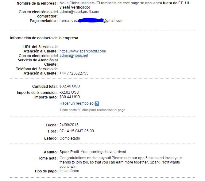1° Pago Spark profit Forex sin riesgos $32 Paypal. Spark10