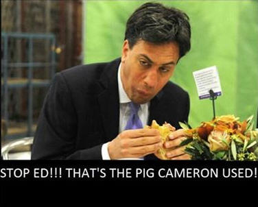 Bacon butties anyone?  (Prime Minister David Cameron - and that pig, Daily Mail, 21 Sep 2015)  Ed10