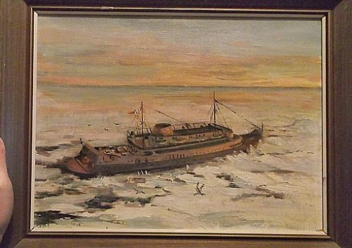 maritime steamer painting Water120