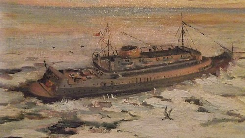 maritime steamer painting Water121