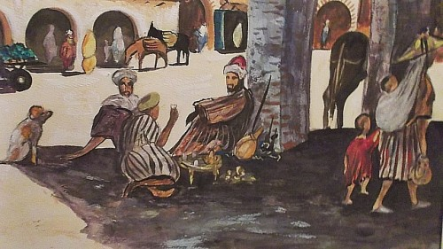 middle eastern watercolor painting Waterm36