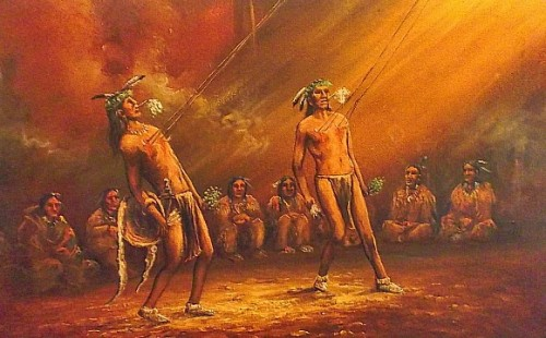native american ritual oil painting Waterm46