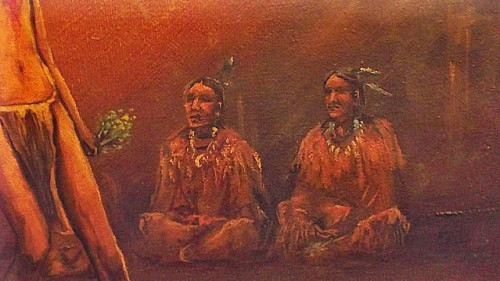 native american ritual oil painting Waterm48
