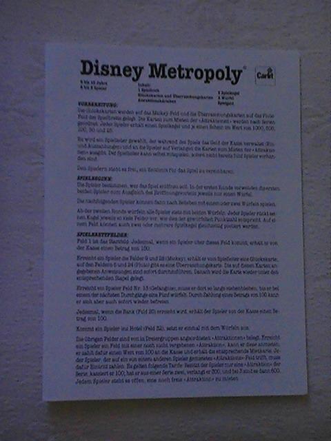 VENDO Raro Gioco da tavolo Topolino Disney Metropoly anno 1988 Pic_0013