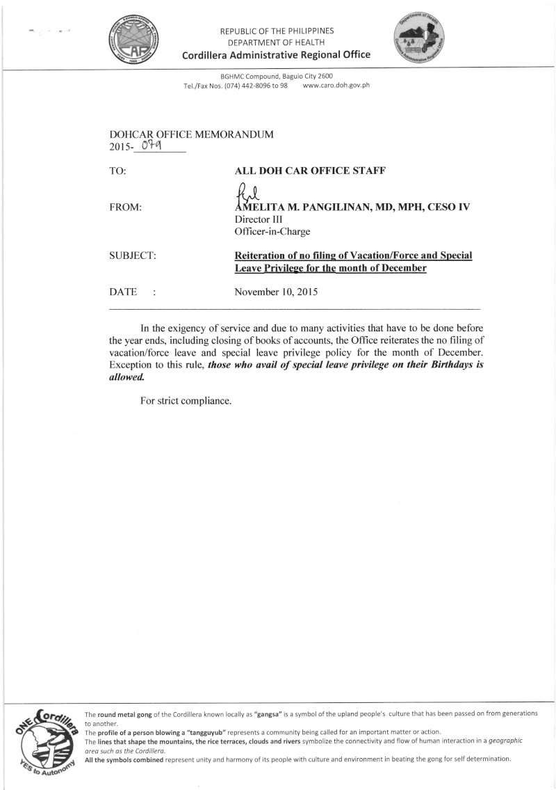 DCOM 2015-079: Reiteration of no filing of Vacation/Forced and Special Leave Privilege for the month of December Dm10