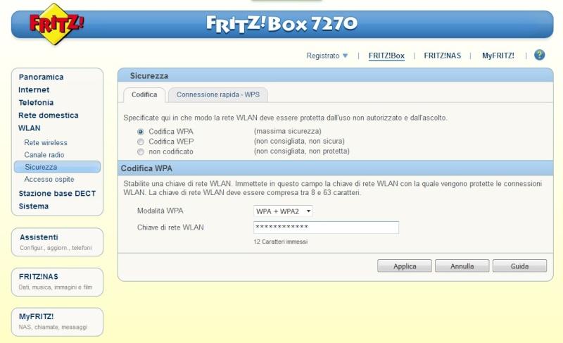 Segnale WLAN fritz 7270 sparito!!! 0210