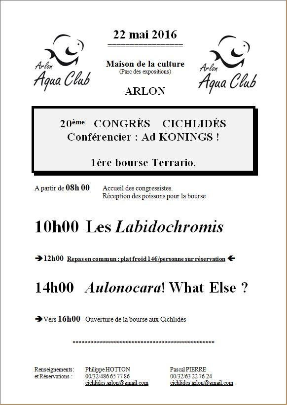 20ème congrès cichlidés - Arlon (Belgique) - 22 mai 2016 Affich11