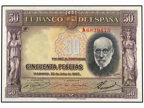 "GRANDES MISTERIOS (V) - 50 pesetas 1935 serie ""A"" (Ramón y Cajal) 002-3510"