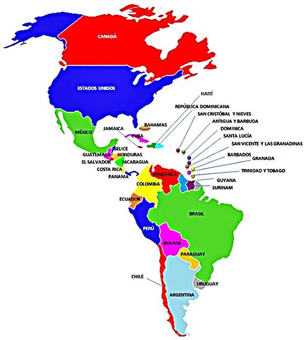 """Países más potentes para coleccionar de las """"AMERICAS"""" Mapa-a10"""
