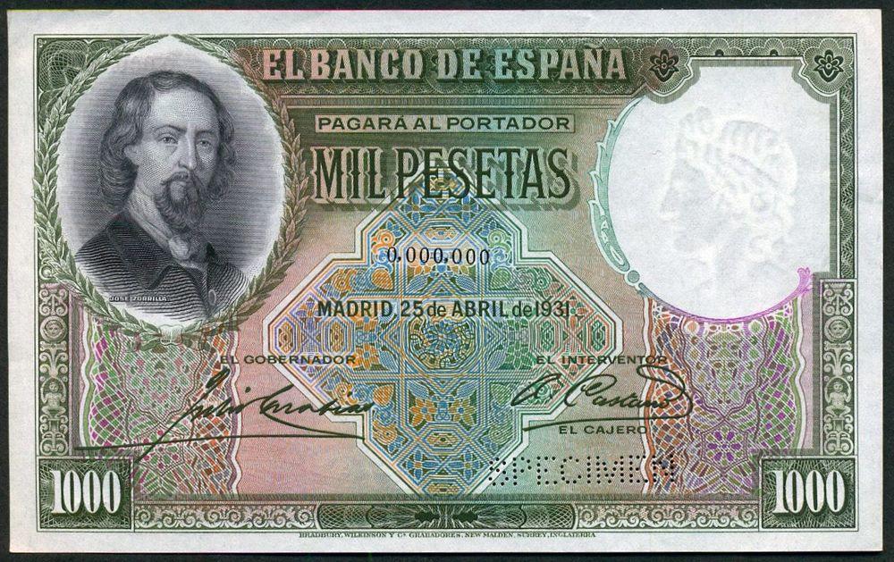 GRANDES MISTERIOS (I) - Tacos existentes 1000 pesetas 1931 Zorrilla S-l10010