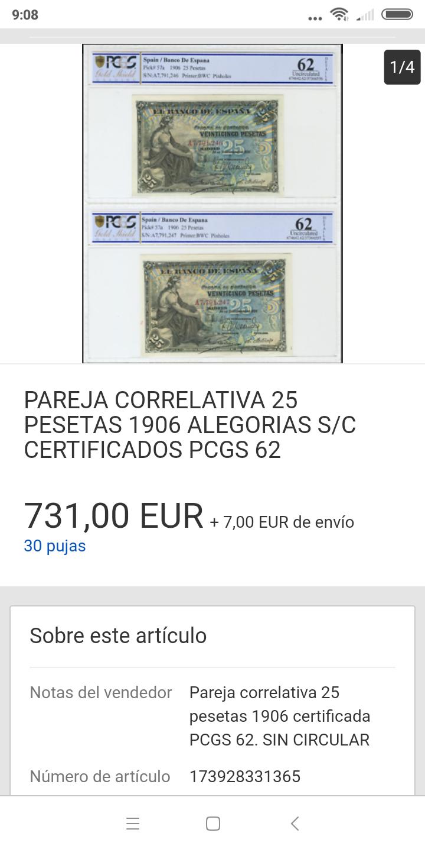 25 pesetas 1906 - Pareja correlativa - de IBERCOIN -> a eBay Screen34