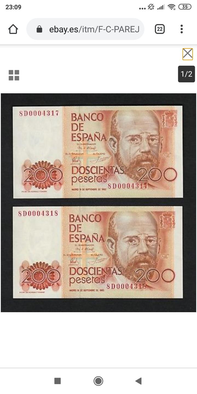 Número más bajo/alto de... 200 pesetas 1980 Serie 8 y 9 Screen42