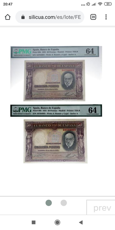 """GRANDES MISTERIOS (V) - 50 pesetas 1935 serie """"A"""" (Ramón y Cajal) Screen45"""